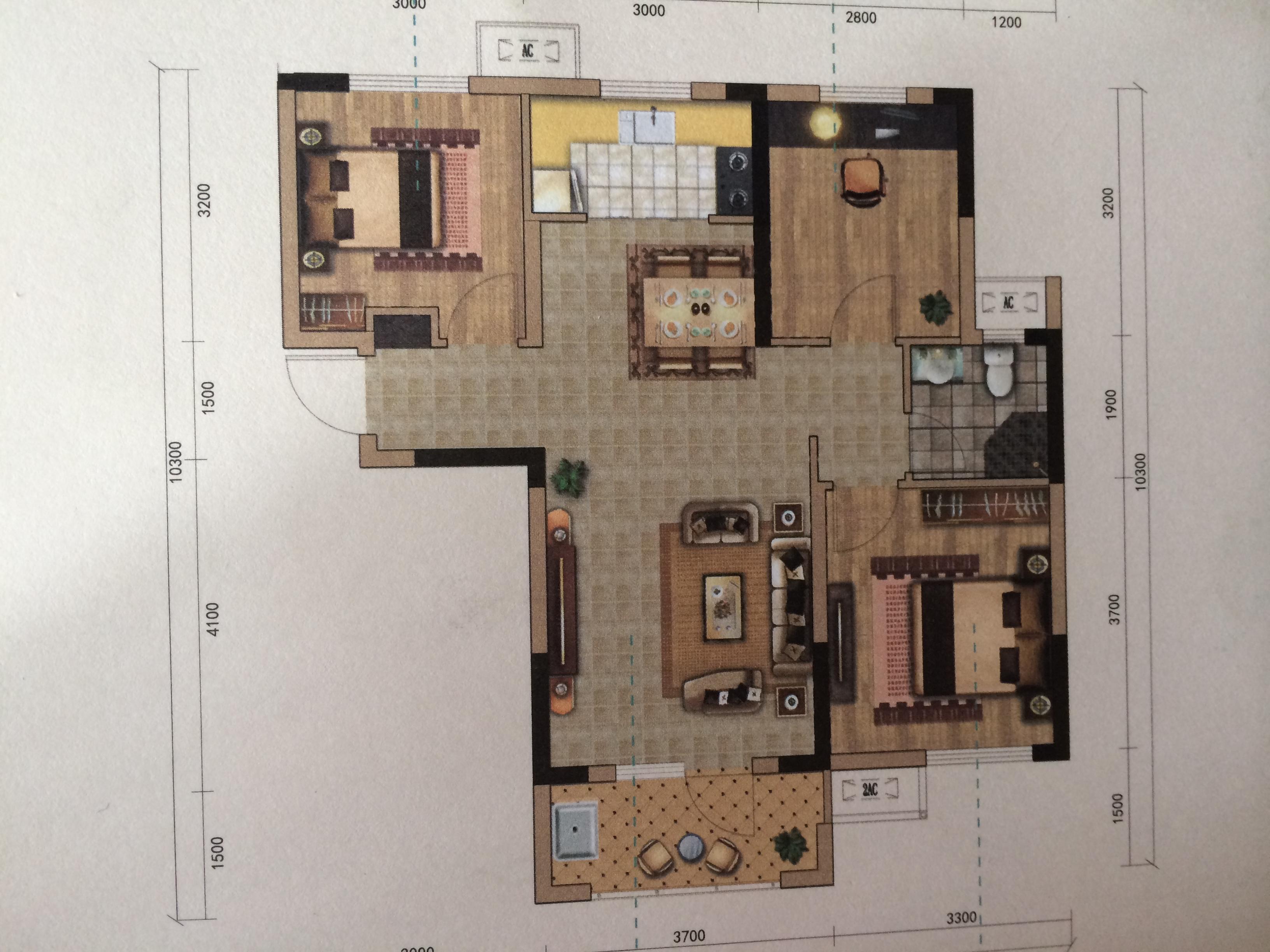 3室2廳1衛|95.00m2戶型圖