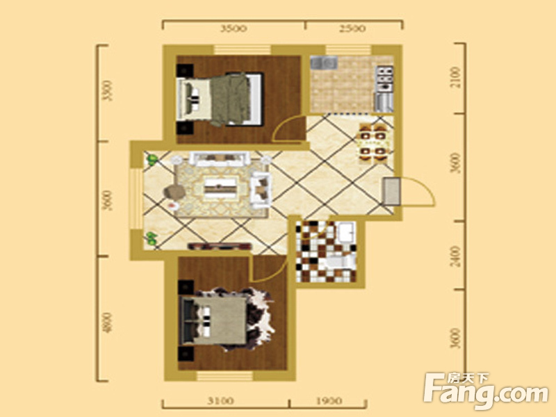 房贷户型 吉林 长春 其他楼盘 > 阳光新城三期中央街区   居室:2室2厅