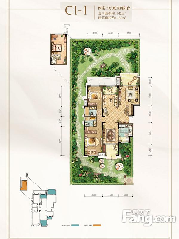 约克郡阅林洋房4室3厅2卫|160.00m2户型图