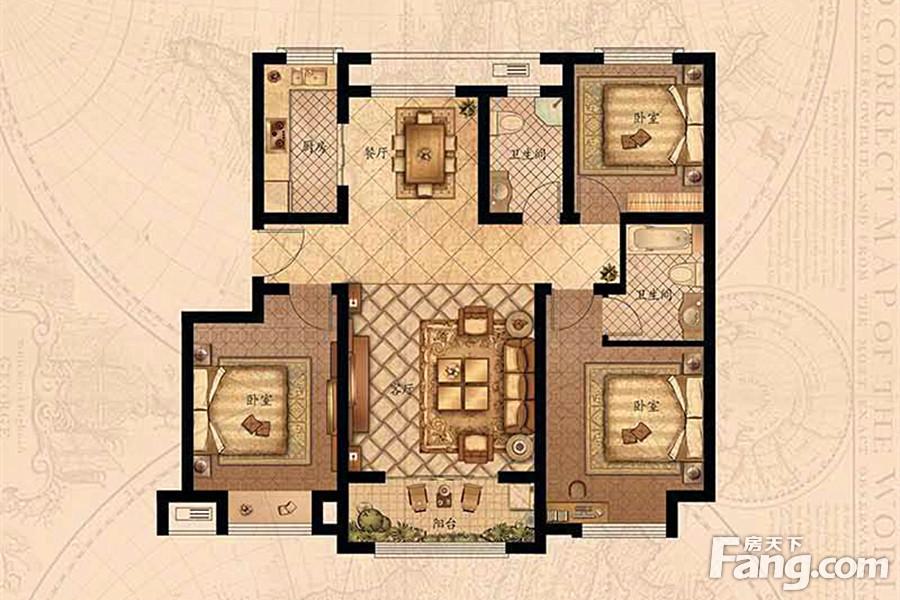 户型图 山东户型图 青岛户型图 莱西市楼盘户型图 梦想望城3室2厅2卫