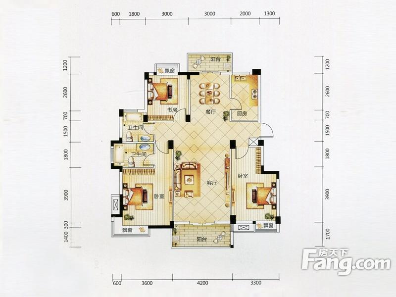 华星融城3室2厅2卫|128.90m2_东西湖楼盘户型图 - 融