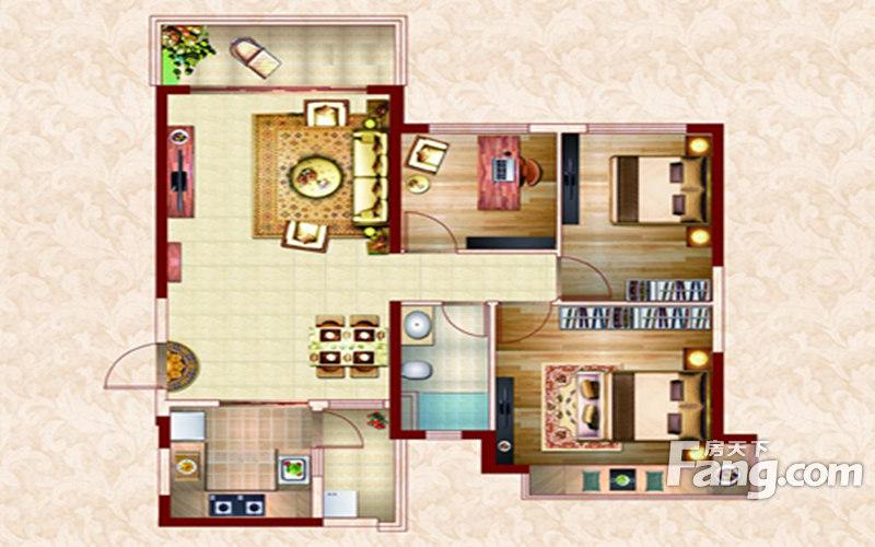 南昌恒大名都3室2厅1卫|110.00m2户型图