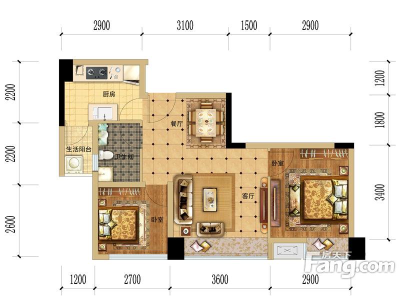 成发紫东阳光2室2厅1卫|61.76m2户型图