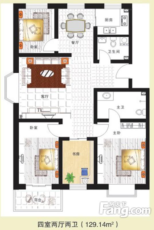 龙城半岛三期4室2厅2卫 129.14m2户型图