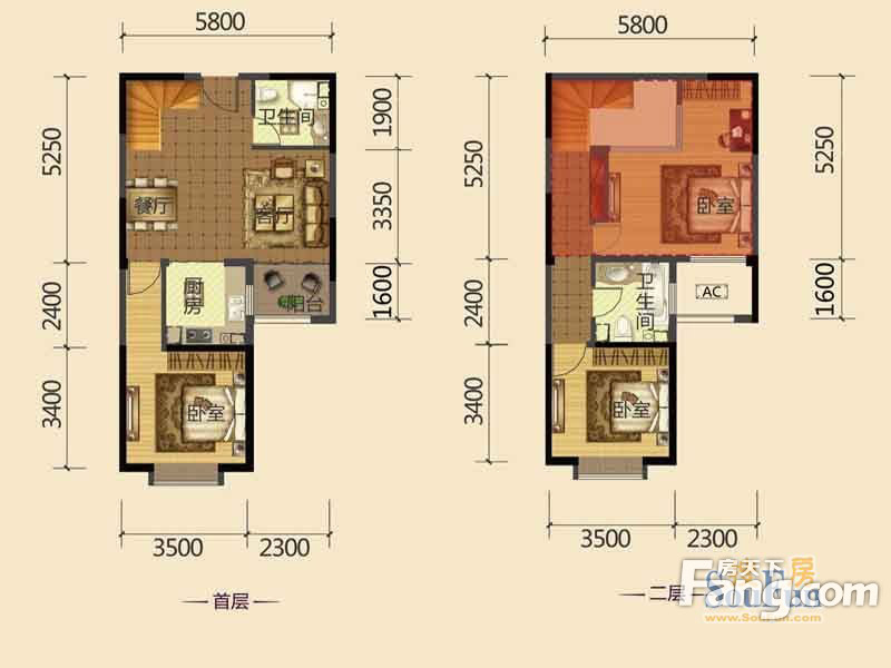 北辰红星国际广场3室2厅2卫|98.95m2户型图